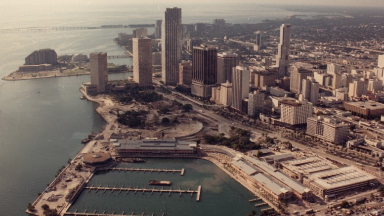 Aerial of Downtown Miami in 1980s
