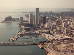 Aerial of Bayfront Park in 1980s.